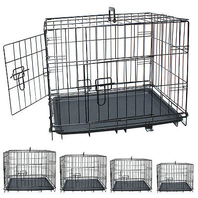 Dog Crate Cage Metal Travel Pet Cat Puppy Vet Portable 2 Doors Carrier Training • 24.99£
