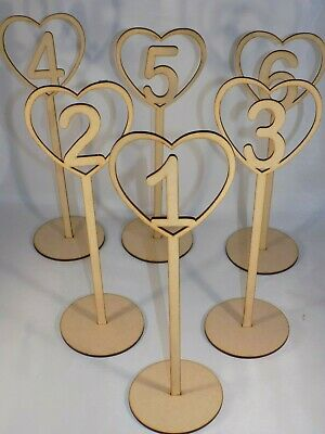 £1.95 • Buy Freestanding Wooden Heart Table Place Numbers - Wedding - 30cm Tall MDF *4 For 3