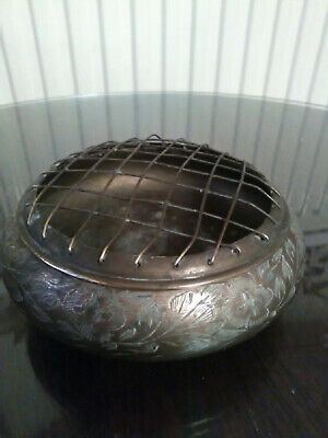 Vintage Indian Brass Rose/posy Bowl With Mesh Top • 3£