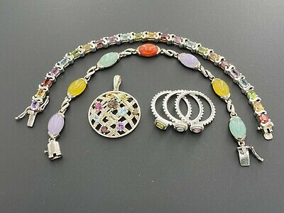 $ CDN117.58 • Buy Sterling Silver 925 Multi-color Gemstone Pendant Stack Ring Tennis Bracelets Lot