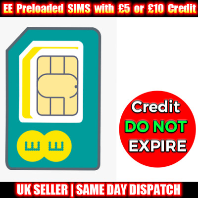 £8.99 • Buy EE Pay As You Go Trio SIMs Preloaded With £5 Or £10 Credit- Credit DO NOT EXPIRE