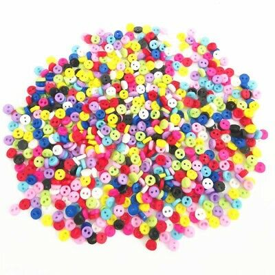 $5.08 • Buy 300 5mm ROUND TINY SMALL RESIN DOLL BUTTONS MIXED COLOUR CRAFT SCRAPBOOK SEWING