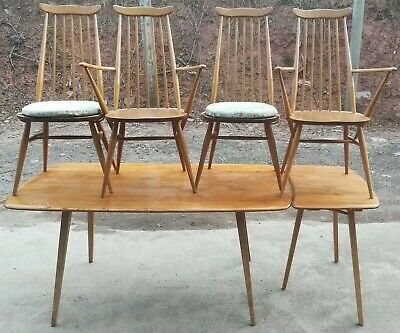 Ercol Plank Table With Rare Extender + Goldsmith Chairs Vintage Blue Label 50s  • 700£
