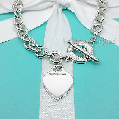 $350 • Buy Tiffany & Co. Heart Tag Toggle Necklace Choker Chain Sterling Silver Box & Pouch