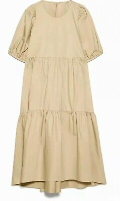 $42 • Buy Zara Tan Poplin Asymmetrical Dress Size Large New With Tags