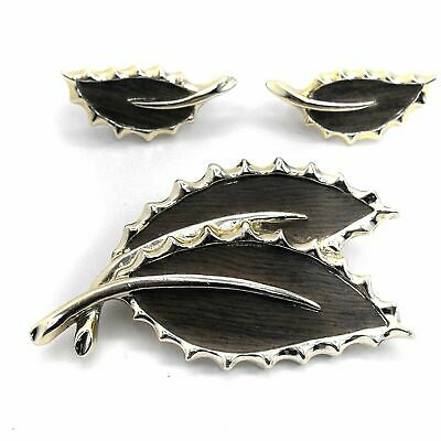 $16.99 • Buy Sarah Coventry WOODED BEAUTY Brooch Clip Earring Set Brown Wood Leaf Gold Plated