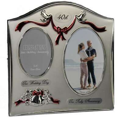 £16 • Buy Juliana Photo Frame 2 Tone Silver Plated Double Wedding Anniversary - 40th Ruby