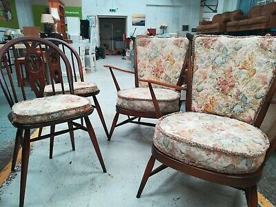 Ercol Vintage Retro Windsor Armchairs (2) And Dining Chairs (2) • 400£