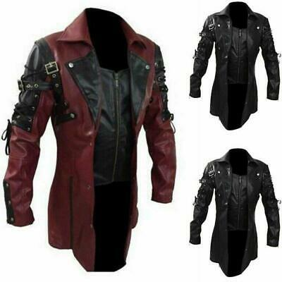 Punk Rave Jacket Mens Faux Gothic Leather Goth Steampunk Military Coat Trench • 42.49£