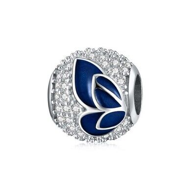 AU25.99 • Buy SOLID Sterling Silver Sparkling Blue Butterfly Field CZ Charm By Pandora's Wish