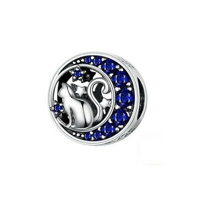 AU25.99 • Buy SOLID Sterling Silver Cat On The Moon & Stars Galaxy Charm By Pandora's Wish