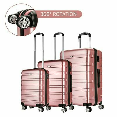 20 /24 /28  Rose Gold Cabin/Medium/Large Suitcase Set Hard Shell Travel Luggage • 13.99£
