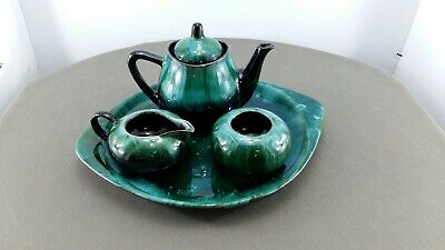 $ CDN25.99 • Buy Blue Mountain Pottery 2 Cup Teapot With Sugar/crmr And Serving Tray
