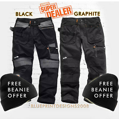 SCRUFFS Work Trousers 3D TRADE Hard-Wearing CORDURA FABRIC FREE BEANIE OFFER!! • 39.95£