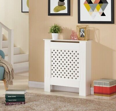 £33.99 • Buy Radiator Cover Cabinet Wall Cabinet Criss Cross Grill Traditional Wood MDF Shelf