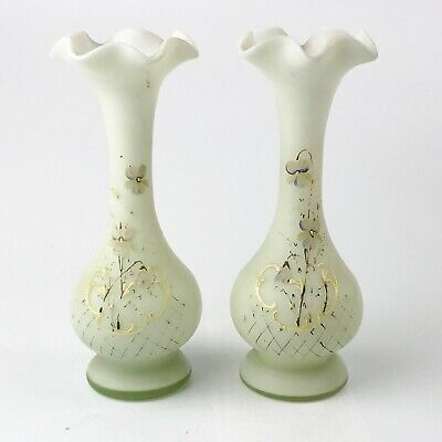 Antique Victorian Pair Of Glass Hand Painted Flute Vases Vase Flowers • 9.99£