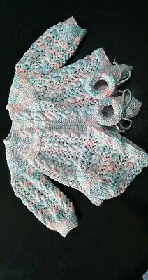 AU50 • Buy Multicolored Hand Knitted Baby Clothes.Cables And Lace. 0 - 3 Months #02