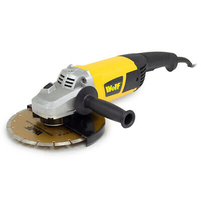 Wolf Angle Grinder 230mm 9  Electric 230v Corded With Tipped Disc Included • 79.99£