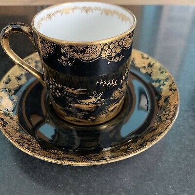 Crown Staffordshire Goode & Audley London China Porcelain Cup,saucer Black Gold • 49.99£
