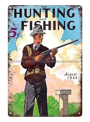 Bar Club Plaques Online Hunting And Fishing 1936 Hunter Rifle Metal Tin Sign • 11.57£