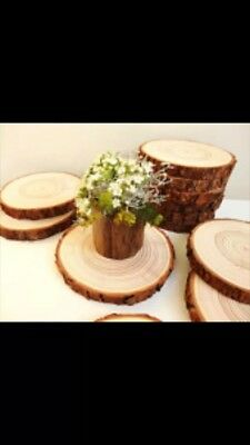 Approx 20cm Log Slice Wedding Table Centre Piece Rustic Cake Stand Tree Wood • 3.20£