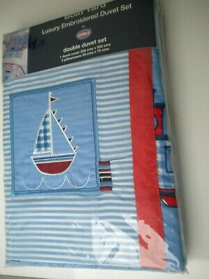 Boat Yard Nautical Luxury Embroidered  Double Duvet Set • 12.99£