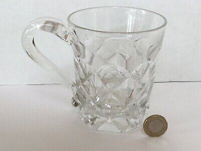 Victorian 19th C Heavy Press Moulded Pub Glass Tankard, Attached Handle, Lovely • 12.50£