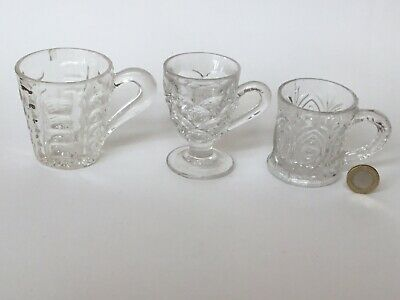 3 X Victorian 19th C Pressed Glass Custard Glass & 2 Small Drinking With Handles • 11.50£