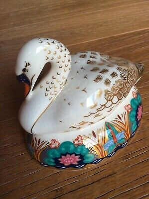 ROYAL CROWN DERBY PAPERWEIGHT SWAN - Silver Stopper • 5.50£