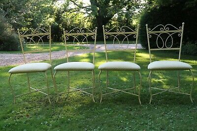 A Set Of 4 Beautiful French Ornate Iron Frame Dinning Chairs • 200£