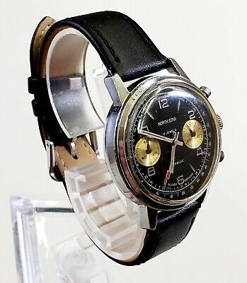 $ CDN364.56 • Buy RARE,UNIQUE Men Vintage Circa 60's SWISS CHRONOGRAPH Watch NORTH STAR 17Jewels.