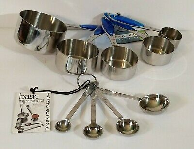 $15.95 • Buy NEW Sets Of (5) ENDURANCE 18/10 Measuring Cups & (4) AMCO 18/0 Measuring Spoons