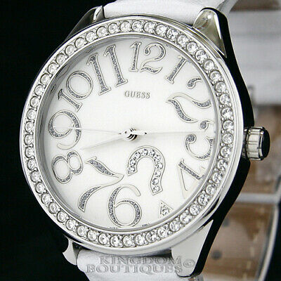 $ CDN107.18 • Buy New GUESS Women's Watch ?Mark Steel White Leather Crystals Logo Montre NwT Reloj
