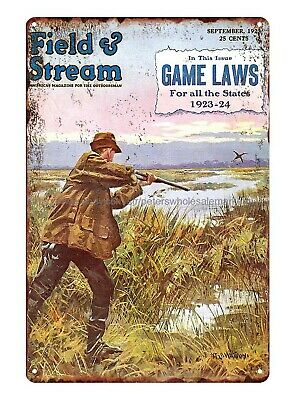Plaque Field And Stream 1923 American Outdoor Man Duck Hunting Metal Tin Sign • 11.57£