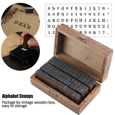 £10.50 • Buy 70PCS Vintage Wood Alphabet Letter Rubber Stamps Small Wooden Box