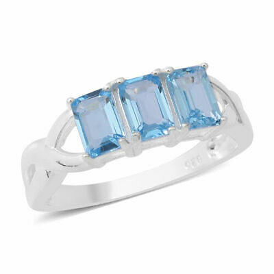 Swiss Blue Topaz (Oct) Trilogy Ring (Size M .925 STERLING SILVER. • 7.25£