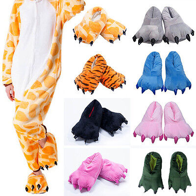 £9.97 • Buy Adult Kids Animal Monster Feet Slippers Claw Dinosaur Paw Plush Funny Shoes Sz