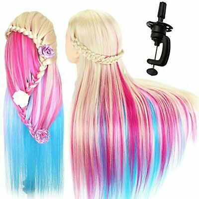 26  Human Hair Training Head Hairdressing Styling Mannequin Doll Model &Clamp UK • 17.69£