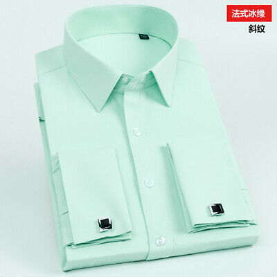 Mens Dress Shirts French Cuff Long Sleeves Formal Business Camisas Shirts Tops • 15.95£