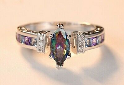 Womans Size R 1/2. Marquise Cut Rainbow & White Topaz 925 Silver Ring • 6.49£