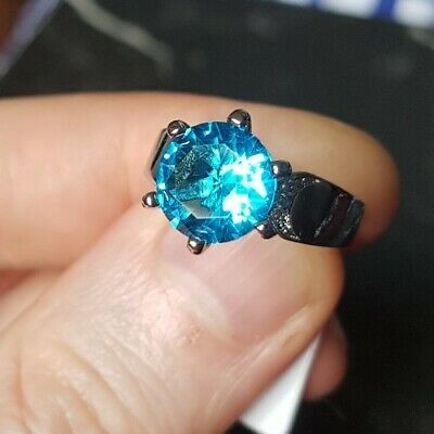 Womans Size N 1/2. Aquamarine & White Topaz 925 Silver Plated Cocktail Ring • 4.99£
