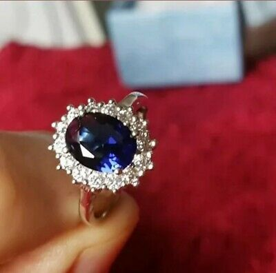 Womens Size K 1/2. 925 Silver 3.0CT Sapphire & Topaz Ring • 6.47£