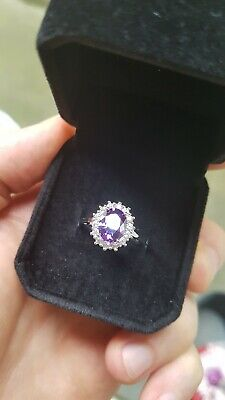 Womans Size K 1/2. 925 Silver 3.0CT Amethyst & Topaz Ring • 6.49£