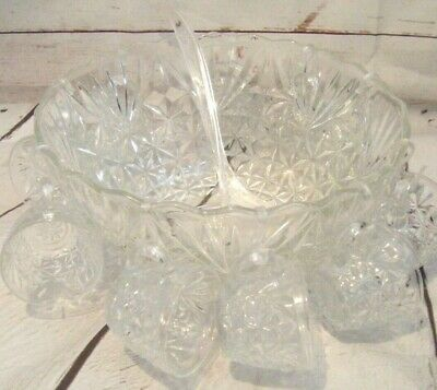 Vintage Pressed Glass Punch Bowl With 10 Glasses & Hooks & Ladle ~ 1970's Party • 29.99£