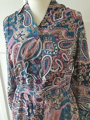 £20 • Buy Purple Blue Teal Paisley Shirt Dress Button Down Belted Size 14 Penny Plain NEW
