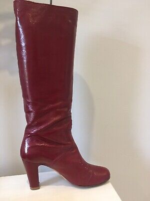 Red Rupert Sanderson High Heel Patent Leather Boots - Size 40 • 19£