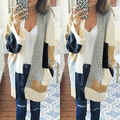 Womens Cardigan Coat Long Sleeve Chunky Knitted Oversized Sweater Jumper Loose • 10.44£