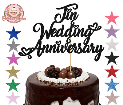Tin Wedding Anniversary Glitter Cake Topper Decoration For 10th Anniversary • 3.99£