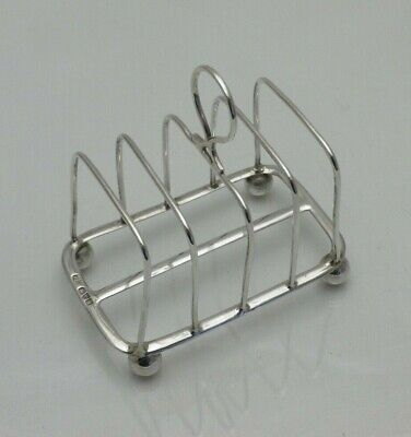Antique Sterling Solid Silver Toast Or Letter Rack Chester 1908 (1377-9-YLN) • 65£