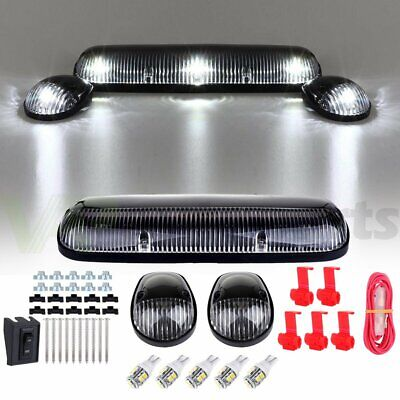 $29.35 • Buy 3X Clear Cover Cab Roof Top Marker Lights+5X 10-3528 White LED For Chevrolet